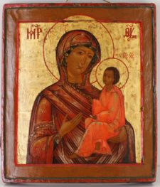 0213 Virgin of Tikhvin; Russian; 18th cent.; 31x27x2.5 cms;