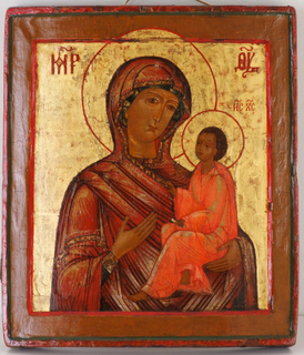 0213 Virgin of Tikhvin; Russian; 18th cent.; 31x27x2.5 cms;