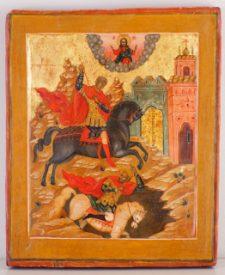 0400 St Demetrius; Russian; 19th cent.; 30.5x25 x2.5;     £1000
